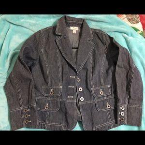 Ann Taylor LOFT Stripe Fitted Jacket